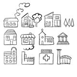 Various house types, fast vector sketch Stock Photos