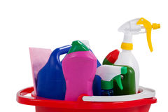 Various household cleaning supplies in a bucket Royalty Free Stock Photos