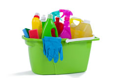 Various household cleaning supplies in a bucket Stock Photo