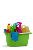 Various household cleaning supplies in a bucket Stock Photos