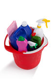 Various household cleaning supplies in a bucket Stock Images