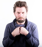 Various human emotions on a white background. Studio shot. Stock Images