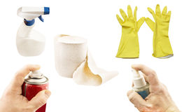 Various hygiene products and cleaning Royalty Free Stock Images