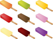 Various ice cream. Set of various frozen ice cream popsicles Royalty Free Stock Image