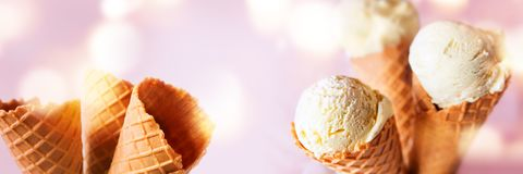 Various ice cream cones and waffle Royalty Free Stock Photo