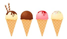 Ice cream flavor in cones vector. Various of ice cream flavor in cones isolated on white background vector illustration