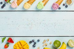 Ice cream-blue background Royalty Free Stock Photography