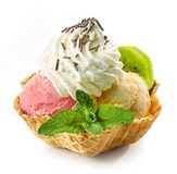 Various ice cream scoops in waffle basket stock photos