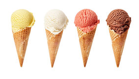 Various ice-cream scoops on white background royalty free stock photo