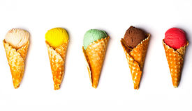 Various ice-cream scoops on white background stock photos