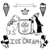 Various Ice cream set. With funny polar bear and penguin figures. black and white. editable Stock Images