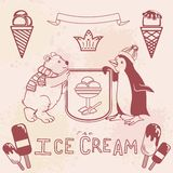 Various Ice cream set. With funny polar bear and penguin figures. retro style. editable Royalty Free Stock Images