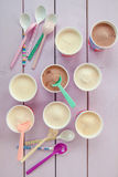 Various ice creams in small paper cups Royalty Free Stock Image