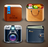 Various icons. An illustration with various icons, lunch box, wallet, notebook and a camera Royalty Free Stock Photography