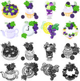 The various icons about grapes Royalty Free Stock Images