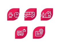 Various icons. Set of icons. 5 amazing icons for the site and the project. Sign, logo, emblem for the company. royalty free illustration