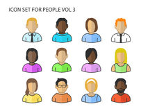 Various  icons / symbols of diverse avatar heads and faces of different skin colors Stock Images