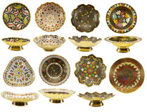 Various Indian plates with traditional pattern Stock Image
