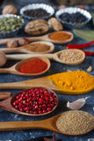 Various indian spices, nuts and herbs in wooden spoons and metal bowls Stock Photography