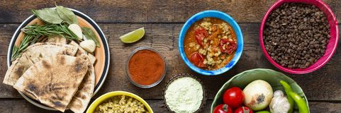 Various Indian and vegetarian dishes and snacks Royalty Free Stock Photos