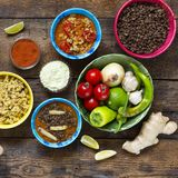Various Indian and vegetarian dishes and snacks Royalty Free Stock Image