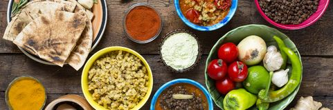Various Indian and vegetarian dishes and snacks Royalty Free Stock Images