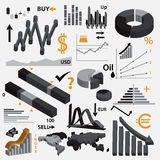 Various infographics 3d graphs for your business or stock market eps10 Royalty Free Stock Photo