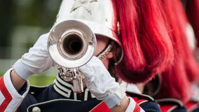 Various instruments and details from a music band of windband Stock Photos