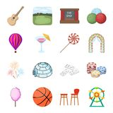 Various interests in a person`s life. Pleasure and entertainment set collection icons in cartoon style vector symbol. Stock isometric illustration Stock Images