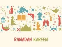 Various Islamic elements for Ramadan Kareem celebration. Royalty Free Stock Image