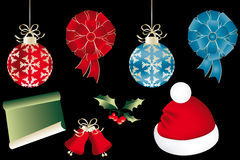 Various isolated Christmas objects. On black - eps 10 vectors vector illustration