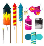 Various isolated fireworks vector illustration. Colorful various fireworks for celebration vector isolated stock illustration