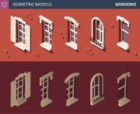 Various Isometric Windows Set. 3d Isometric illustration. royalty free illustration