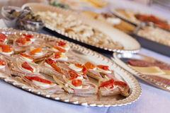 Various Italian Appetizers on Table Stock Photos