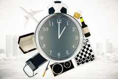 Various items around big clock. Various items such as treadmill, chessboard, coffee, football and airplane around large clock on misty city background. Time Royalty Free Stock Images