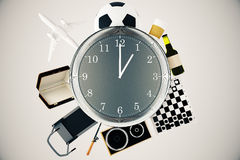 Various items around clock. Various items such as treadmill, chessboard, coffee, football and airplane around large clock. Time management concept. 3D Rendering Stock Photos
