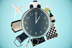 Various items around clock. Various items such as treadmill, chessboard, coffee, football and airplane around large clock. Time management concept. 3D Rendering Stock Photo