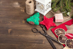 Various items for christmas hand craft at right top corner Royalty Free Stock Photo