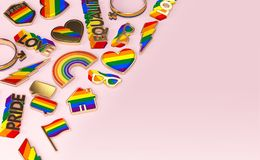 Various items connected with gay pride laying flat on pastel pink background. Top view with copy space on the right. 3D rendering. Various items connected with vector illustration