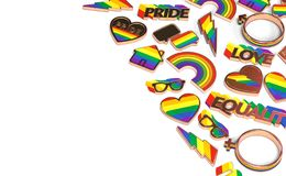 Various items connected with gay pride laying flat on white background. Top view with copy space on the left. 3D rendering. Various items connected with gay stock illustration