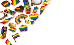 Various items connected with gay pride laying flat on white background. Top view with copy space on the right. 3D rendering. Various items connected with gay royalty free illustration