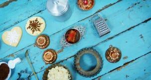 Various items and ingredients to prepare christmas cookies stock video footage