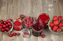 Various jams and berries Royalty Free Stock Photography