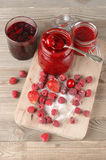 Various jams and berries Royalty Free Stock Photos