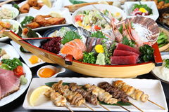 Various Japanese dishes Stock Image