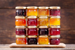 Various jars of fruit jam Stock Image