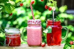 Various Jars of jam and compotes, yogurt with raspberries in the garden. space for text royalty free stock images