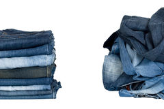 Various jeans isolated Stock Photo