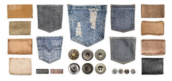 Various jeans parts on white Royalty Free Stock Photo