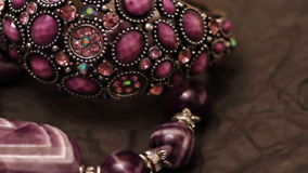 Various jewellery 5. Various jewellery on the table stock footage